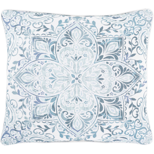 "20"" Blue and Gray Printed Persian Floral Pattern Square Throw Pillow Cover - IMAGE 1"