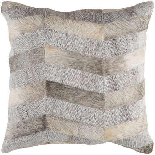 """18"""" Gray and Cream White Throw Pillow Cover with Knife Edge - IMAGE 1"""