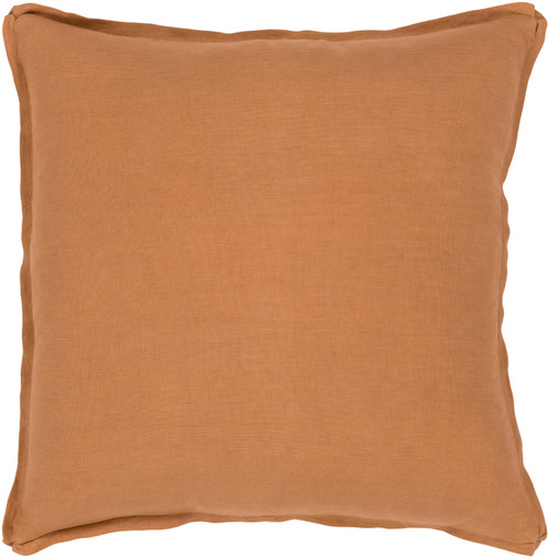 """18"""" Burnt Orange Solid Flange Finish Square Throw Pillow - Poly Filled - IMAGE 1"""