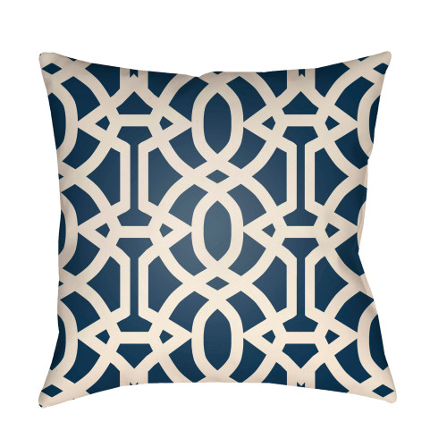 "22"" Navy Blue and Beige Imperial Trellis Patterned Square Throw Pillow Cover - IMAGE 1"