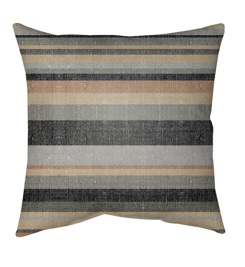 """18"""" Gray and Black Striped Pattern Square Throw Pillow Cover - IMAGE 1"""