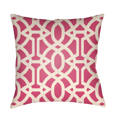 "22"" Punch Pink and White Imperial Trellis Patterned Square Throw Pillow Cover - IMAGE 1"