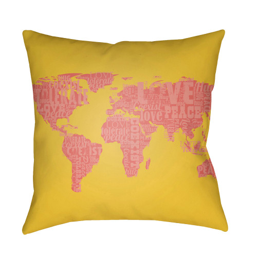 """20"""" Pink and Yellow World Map Printed Throw Pillow Cover with Knife Edge - IMAGE 1"""