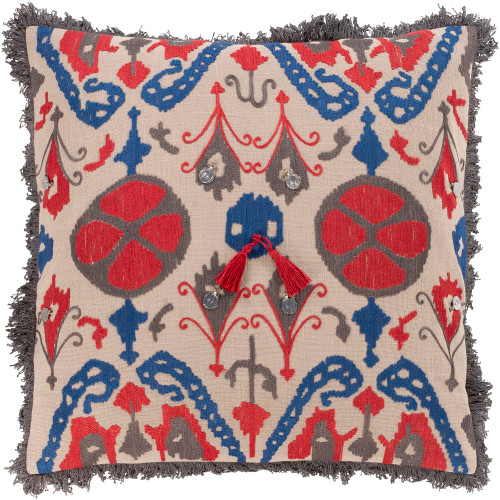 "20"" Ivory and Red Embroidered Tibetan Pattern Square Throw Pillow Cover - IMAGE 1"