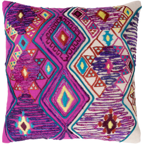 """22"""" Purple and Ivory Square Throw Pillow Cover with Knife Edge - IMAGE 1"""