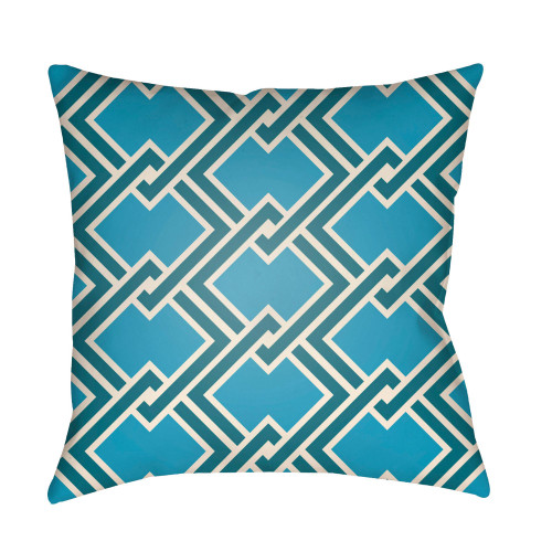 """22"""" Blue and Green Chain Link Patterned Square Throw Pillow Cover - IMAGE 1"""