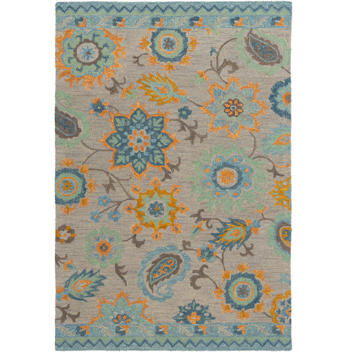 8' x 10' Floral Pattern Blue and Yellow Rectangular Hand Tufted Area Throw Rug - IMAGE 1