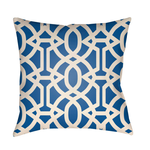 """22"""" Cobalt Blue and Beige Imperial Trellis Patterned Square Throw Pillow Cover - IMAGE 1"""