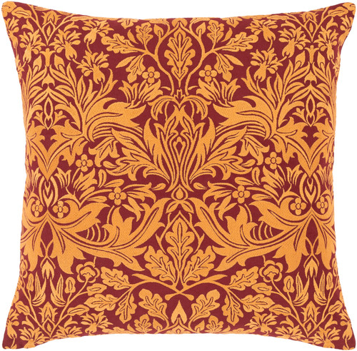 """18"""" Orange and Red Knife Edge Square Throw Pillow - Poly Filled - IMAGE 1"""