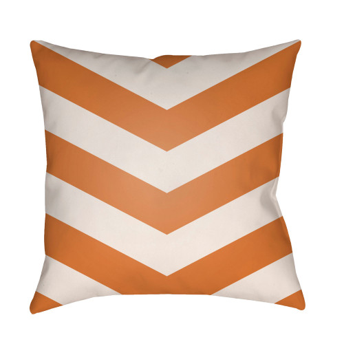 "22"" Orange and White Chevron Patterned Square Throw Pillow Cover - IMAGE 1"