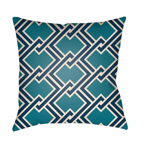 """22"""" Navy Blue and Green Chain Link Patterned Square Throw Pillow Cover - IMAGE 1"""