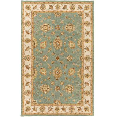 """7'6"""" x 9'6"""" Floral Pattern Green and Beige Rectangular Area Rug - IMAGE 1"""