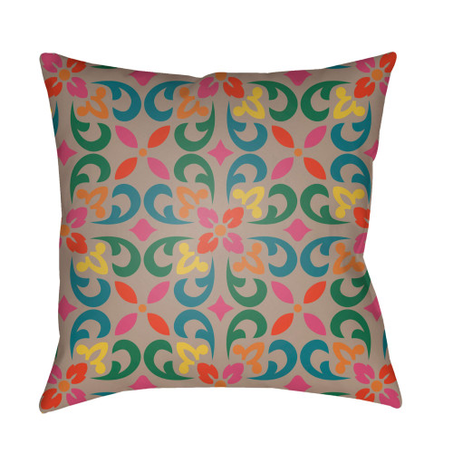 """18"""" Teal Blue and Pink Square Throw Pillow Cover with Knife Edge - IMAGE 1"""