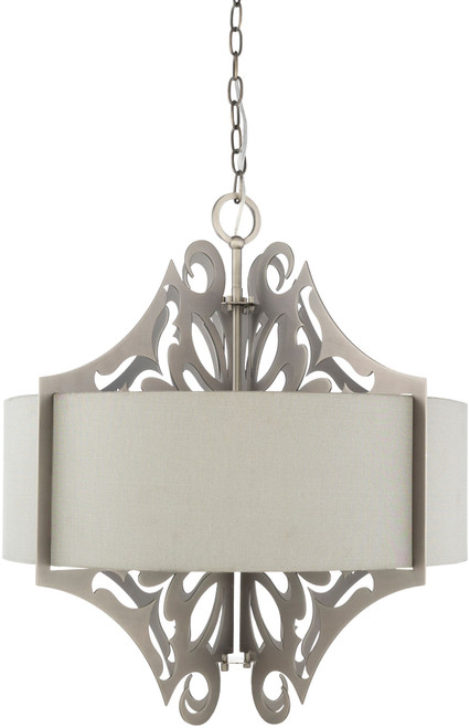 "25.5"" Gray and Silver Colored Hanging Pendant Ceiling Light Fixture - IMAGE 1"