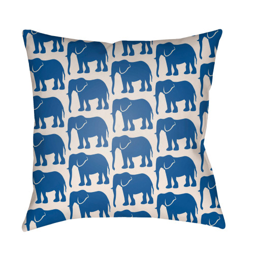 """18"""" Blue and White Elephant Printed Pillow Cover with Knife Edge - IMAGE 1"""