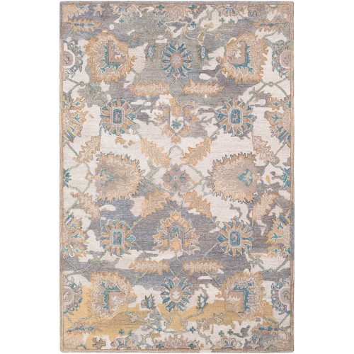 """5' x 7'6"""" Oriental Floral Design Beige and Gray Hand Tufted Wool Area Throw Rug - IMAGE 1"""