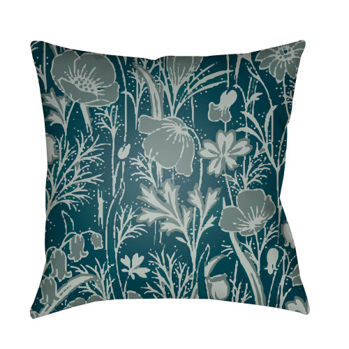 "22"" Ocean Blue and Gray Floral Square Throw Pillow Cover - IMAGE 1"