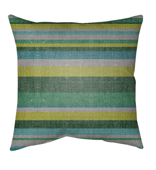 """18"""" Green and Gray Striped Pattern Square Throw Pillow Cover - IMAGE 1"""