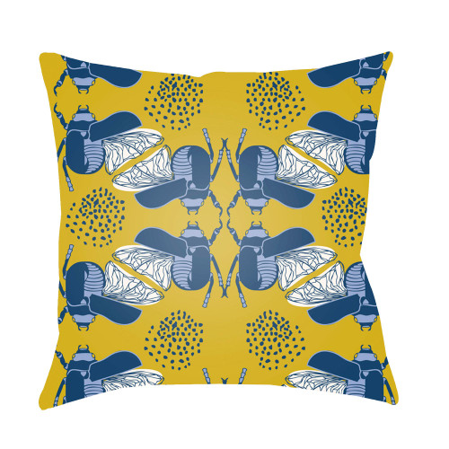 "22"" Yellow and Blue Bugs Printed Square Throw Pillow Cover - IMAGE 1"