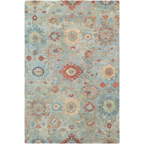"""5' x 7'6"""" Oriental Floral Style Teal Blue and Orange Hand Tufted Wool Area Throw Rug - IMAGE 1"""