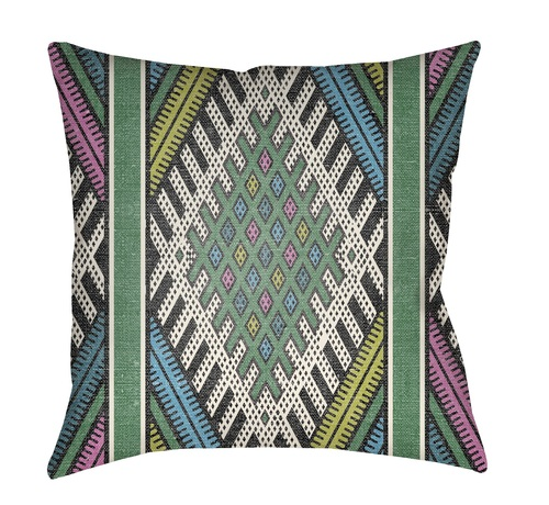 """18"""" Green and White Abstract Patterned Square Throw Pillow Cover - IMAGE 1"""