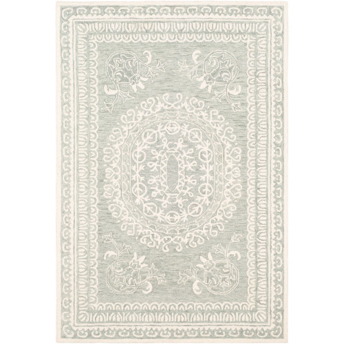 6' x 9' Medallion Patterned Sage Green and Beige Rectangular Area Throw Rug - IMAGE 1