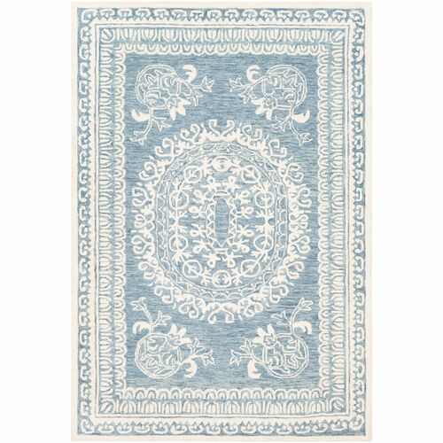 6' x 9' Medallion Patterned Blue and Beige Rectangular Area Throw Rug - IMAGE 1