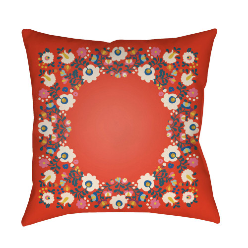 """18"""" Bright Red and Ivory Square Throw Pillow Cover - IMAGE 1"""