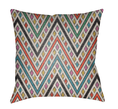 "18"" Orange and Green Chevron Pattern Square Throw Pillow Cover - IMAGE 1"