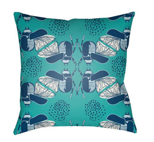 """22"""" Navy Blue and Green Bugs Printed Square Throw Pillow Cover - IMAGE 1"""
