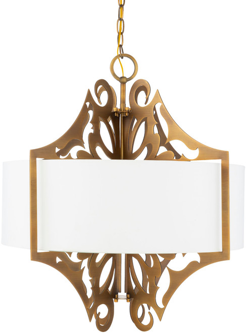 """25.5"""" White and Bronze Colored Hanging Pendant Ceiling Light Fixture - IMAGE 1"""