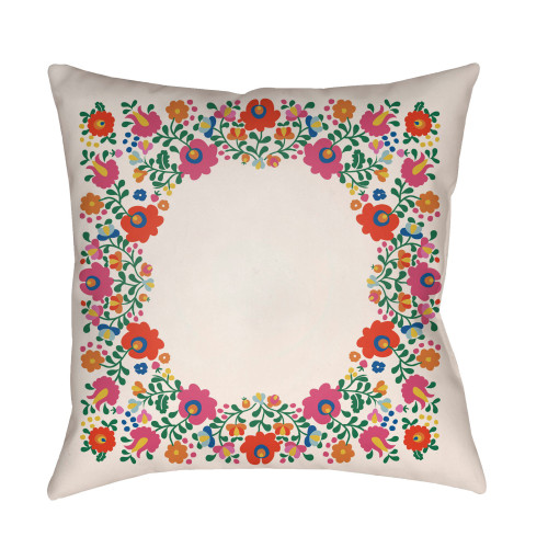 "18"" Ivory and Bright Pink Square Throw Pillow Cover with Knife Edge - IMAGE 1"