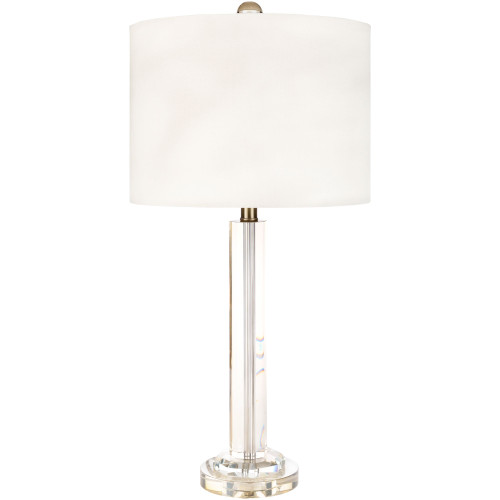 """28.5"""" Contemporary Style Clear Table Lamp with White Faux Silk Shade - IMAGE 1"""