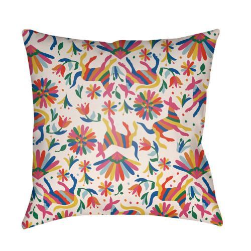 """18"""" Pink and Beige Square Throw Pillow Cover with Knife Edge - IMAGE 1"""