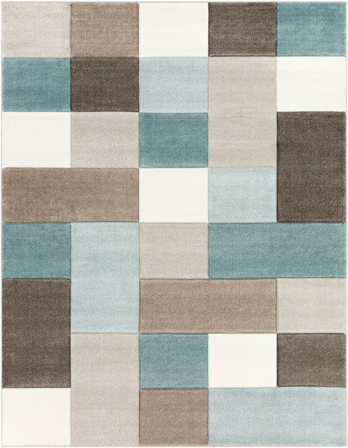 7.8' x 10.1' Blue and Brown Checkered Pattern Rectangular Area Throw Rug - IMAGE 1