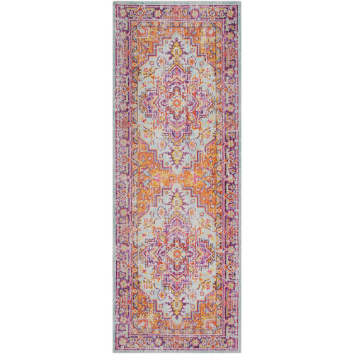 2.9' x 7.8' Floral Lavender and Saffron Rectangular Area Throw Rug Runner - IMAGE 1