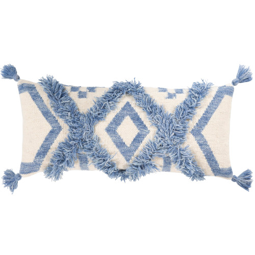 """30"""" White and Blue Diamond Patterned with Tassels Rectangular Throw Pillow Cover - IMAGE 1"""