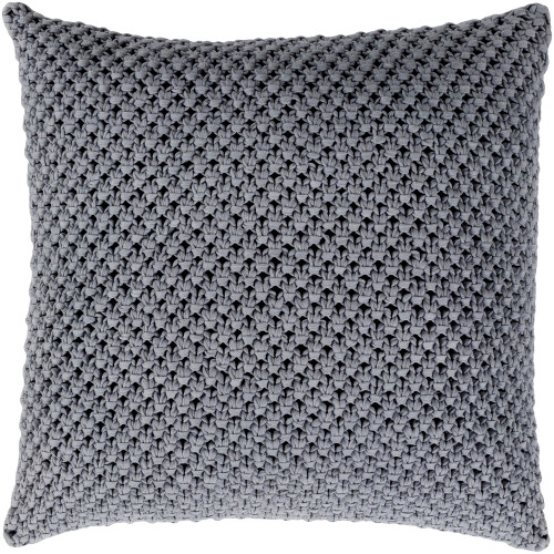 """18"""" Coin Gray Crochet Patterned Square Throw Pillow Cover - IMAGE 1"""