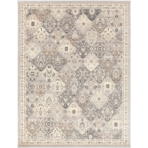 9.25' x 12.25' Transitional Style Camel Brown and Gray Rectangular Area Throw Rug - IMAGE 1