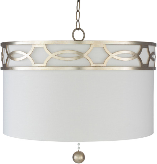 """23"""" White and Silver Colored Hanging Pendant Ceiling Light Fixture - IMAGE 1"""