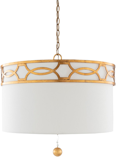 """23"""" White and Gold Colored Hanging Pendant Ceiling Light Fixture - IMAGE 1"""