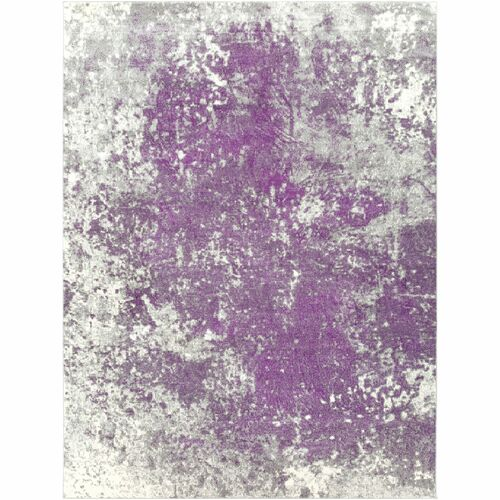 7.8' x 10.5' Abstract Style Purple and Gray Rectangular Area Throw Rug - IMAGE 1