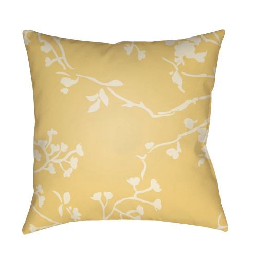 """22"""" Yellow and White Floral Square Throw Pillow Cover with Knife Edge - IMAGE 1"""