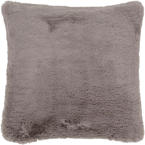 "20"" Gray Solid Square Throw Pillow - Down Filler - IMAGE 1"
