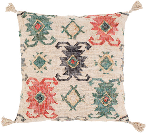 """20"""" Beige and Red Square Throw Pillow Cover - IMAGE 1"""