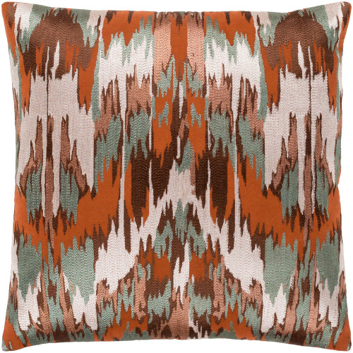 "20"" Brown Embroidered Abstract Patterned Square Throw Pillow - Polyester Filler - IMAGE 1"