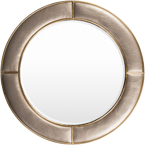 """31.89"""" Beige Wooden Frame Round Shaped Wall Mirror - IMAGE 1"""