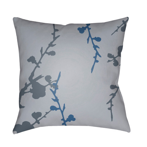 "22"" Gray and Blue Floral Square Throw Pillow Cover with Knife Edge - IMAGE 1"