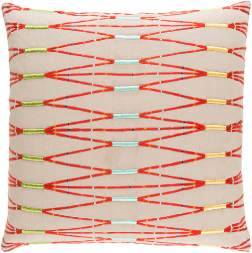 """20"""" Beige and Red Hand Embroidered Woven Square Throw Pillow Cover - IMAGE 1"""