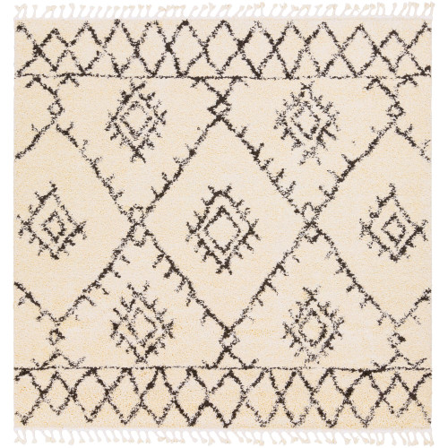 7.8' Geometric Patterned Black and Beige Square Area Throw Rug - IMAGE 1